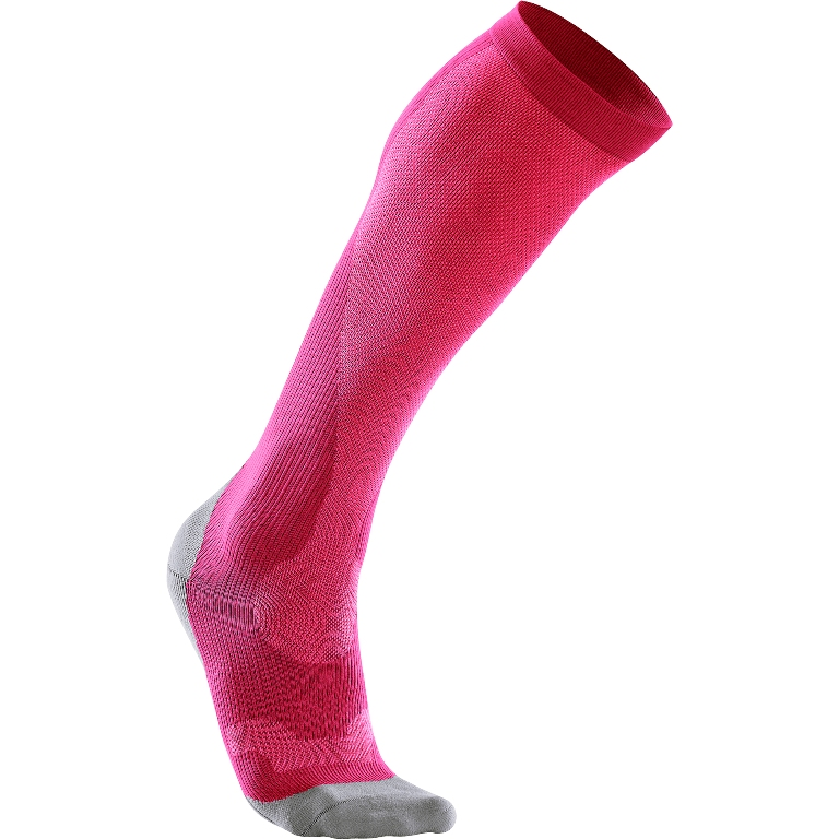 2XU Performance Run Compression Sock Women's Size S HotPink Grey U.S.A. & Canada