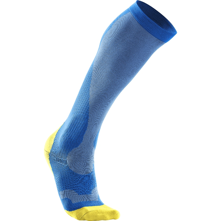 2XU Performance Run Compression Sock Women's Size S VibrantBlue CanaryYellow U.S.A. & Canada