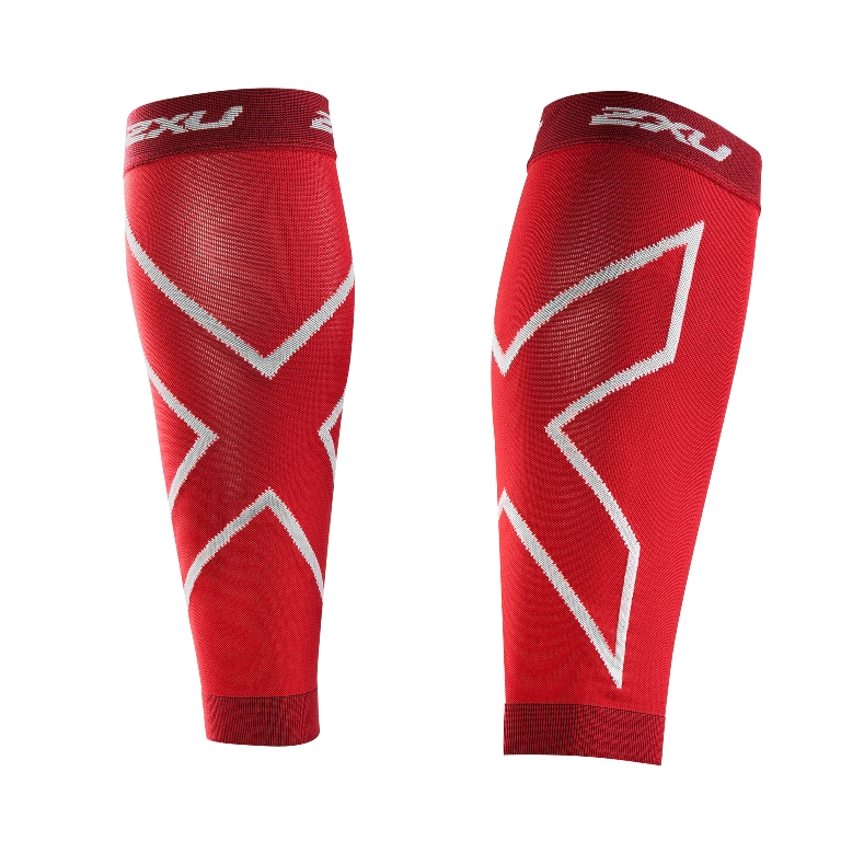 2XU Recovery Compression Calf Sleeve Size S Red U.S.A. & Canada
