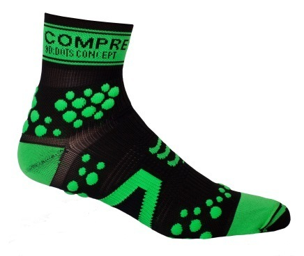 CompresSport Pro Racing V2 Trail High Cut Running Sock Size T2 Black Green U.S.A. & Canada