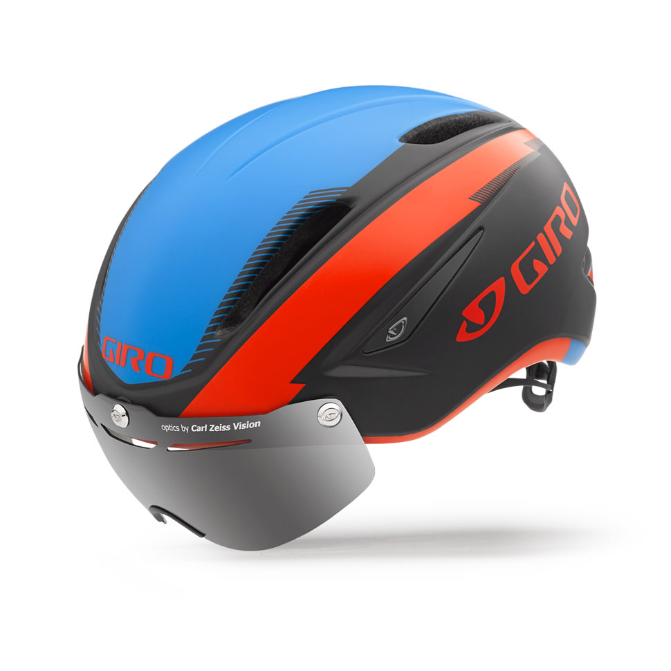 Giro Air Attack Shield Time Trial Helmet Size M MatteBlack GlowingRed Blue U.S.A. & Canada