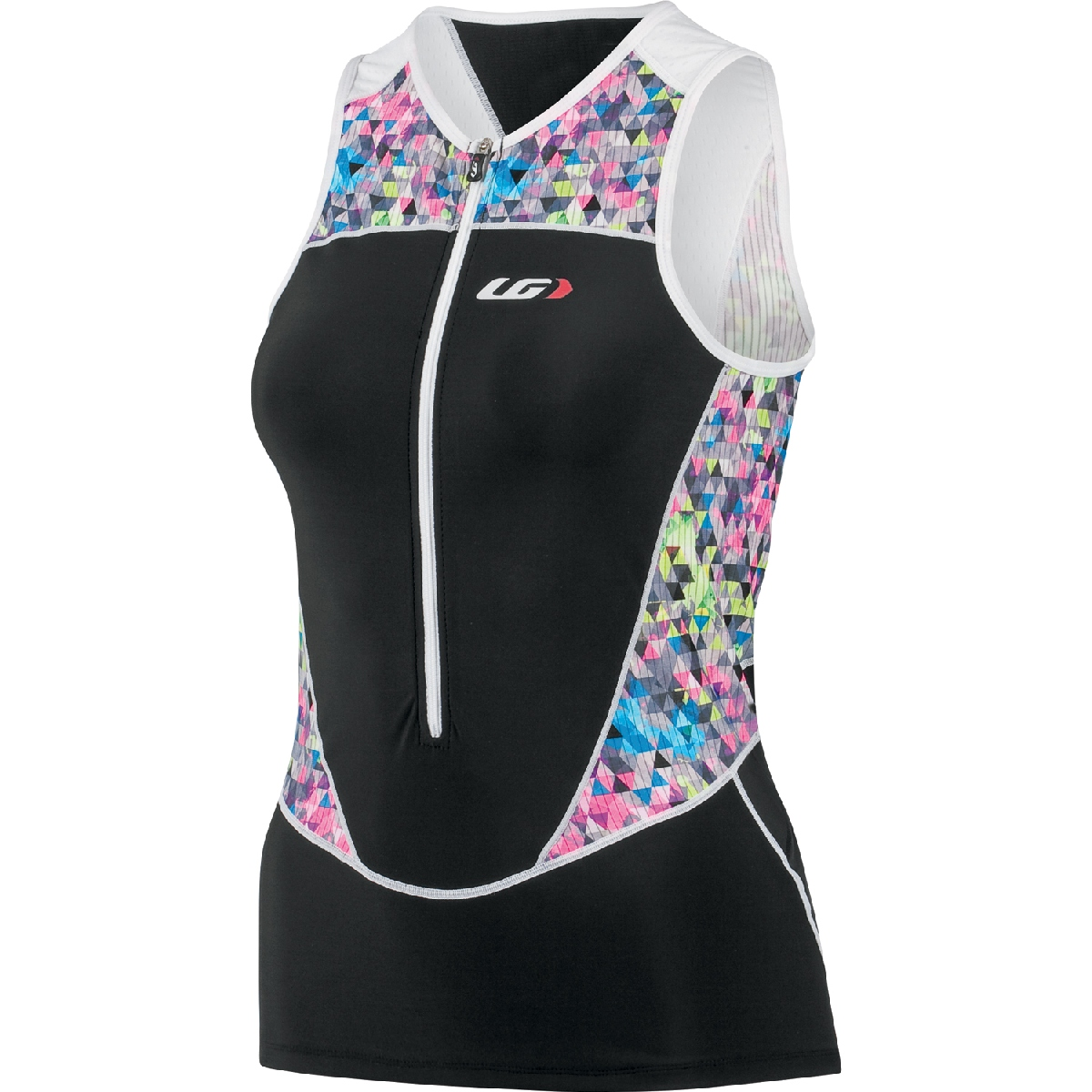 Louis Garneau Pro 2 Sleeveless Triathlon Top Women's Size L Black Multi U.S.A. & Canada