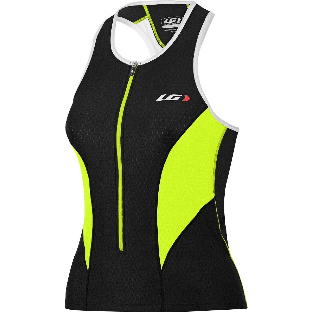 Louis Garneau Pro Triathlon Top Women's Size L Black FluoYellow U.S.A. & Canada