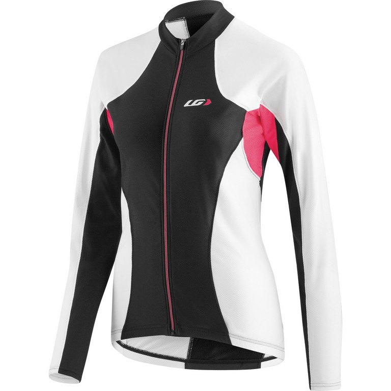 Louis Garneau Ventila Long Sleeve Cycling Jersey Women's Size L Black White U.S.A. & Canada