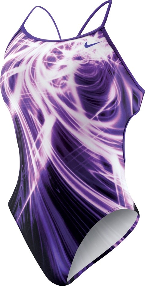 Nike Galactic Opera Modern Cut Out Tank Swimsuit Girl's Size 28 CourtPurple U.S.A. & Canada