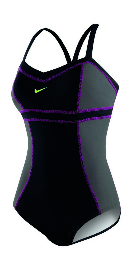 Nike High Support Colorblock Adjustable Tank Swimsuit Women's Size 6 Black U.S.A. & Canada
