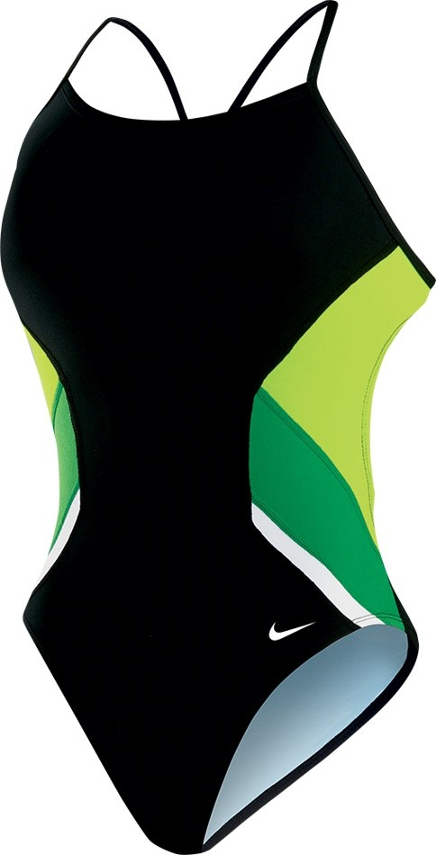 Nike Poly Team Splice Cut Out Tank Swimsuit Girl's Size 24 CourtGreen U.S.A. & Canada