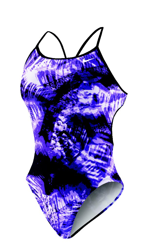 Nike Solar Canopy Modern Cut Out Tank Swimsuit Women's Size 36 CourtPurple U.S.A. & Canada