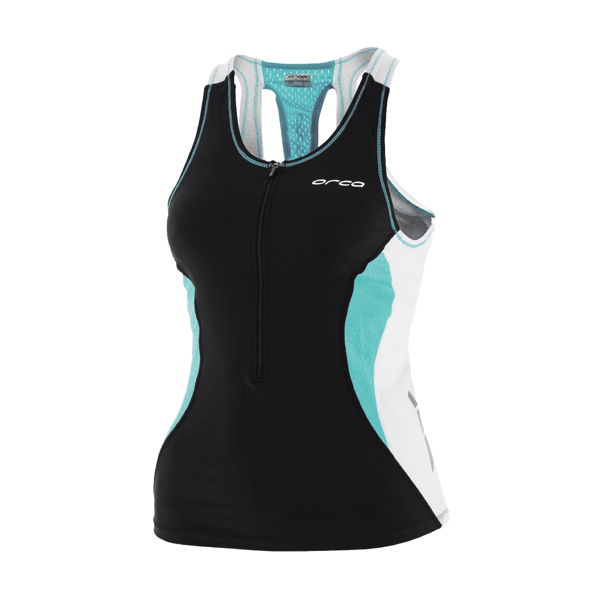 Orca Core Support Triathlon Singlet Women's Size M Black Turquoise U.S.A. & Canada