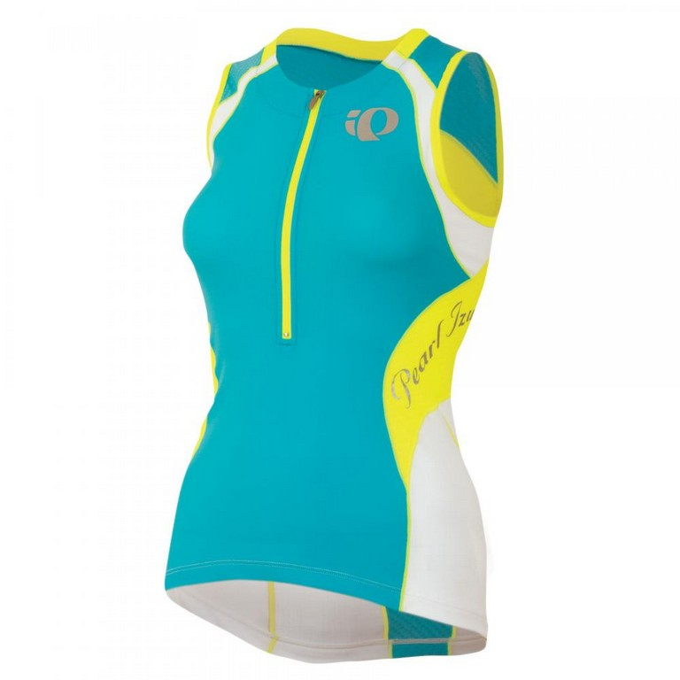 Pearl Izumi Elite In R Cool Sleeveless Triathlon Top Women's Size XL ScubaBlue ScreamingYellow U.S.A. & Canada