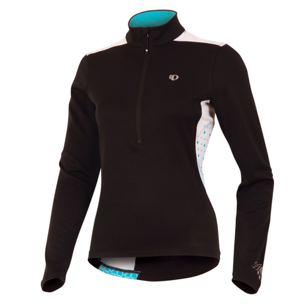 Pearl Izumi Superstar Thermal Print Long Sleeve Cycling Jersey Women's Size L Black ScubaBlue U.S.A. & Canada