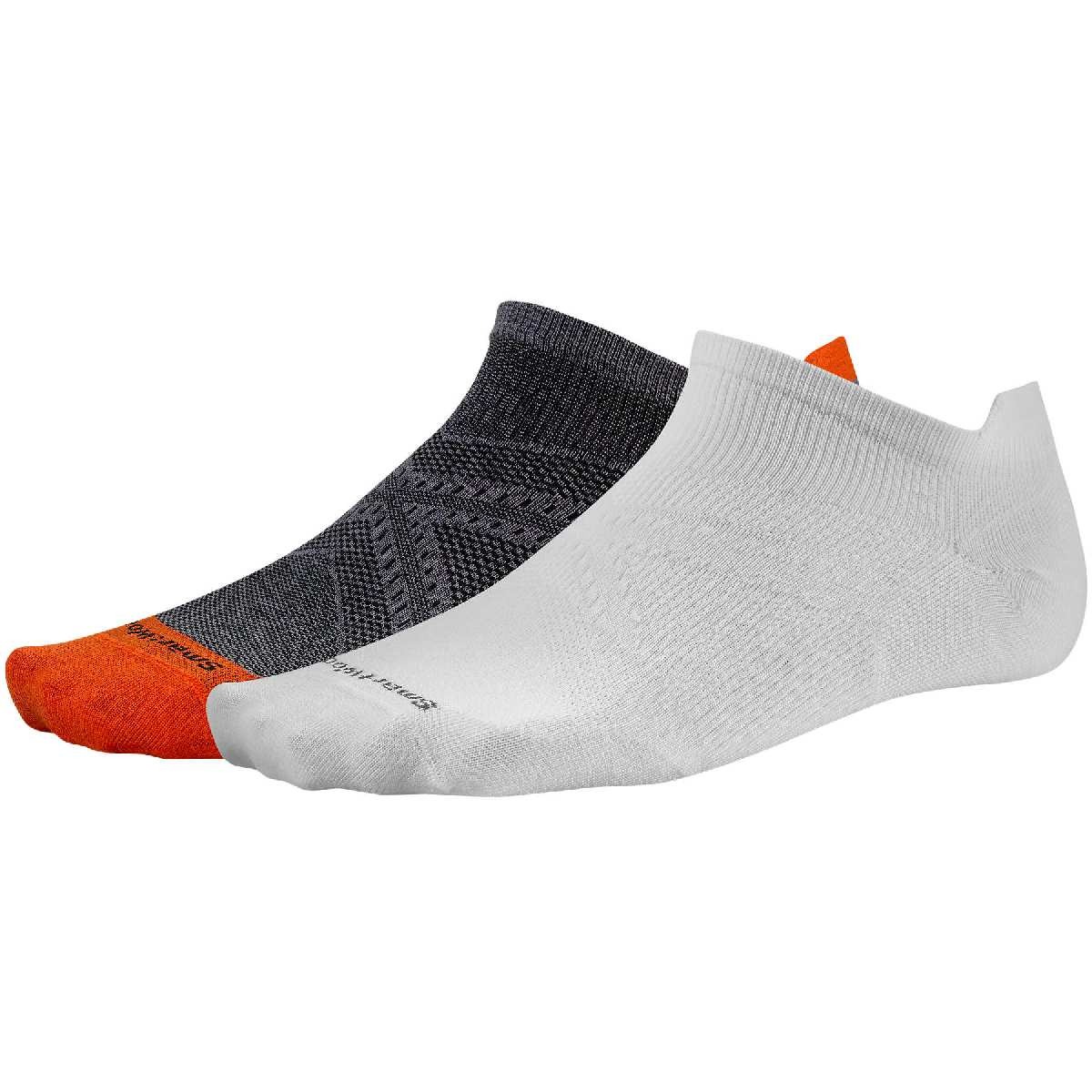 SmartWool 2 Pack PhD Ultra Light Micro Running Sock Size M White BrightOrange U.S.A. & Canada