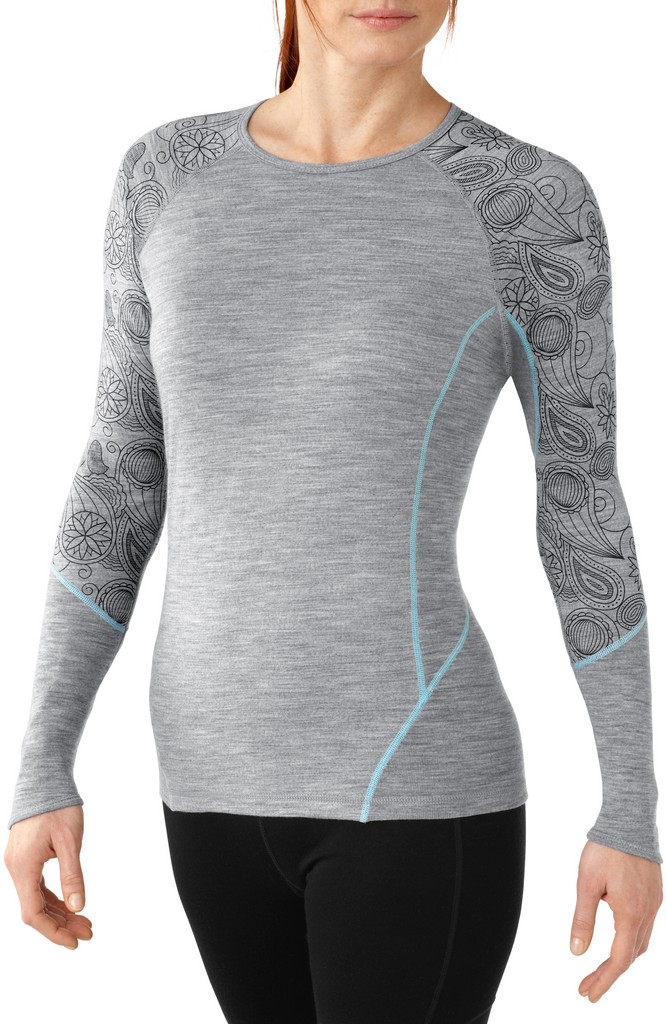 SmartWool NTS Light 195 Printed Crew Long Sleeve Base Layer Women's Size M SilverGreyHeather U.S.A. & Canada