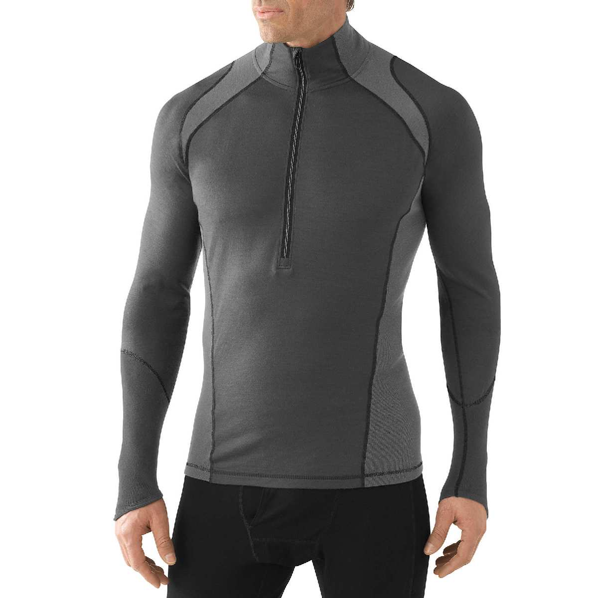 SmartWool NTS Light 195 Zip T Long Sleeve Base Layer Men's Size S Graphite U.S.A. & Canada
