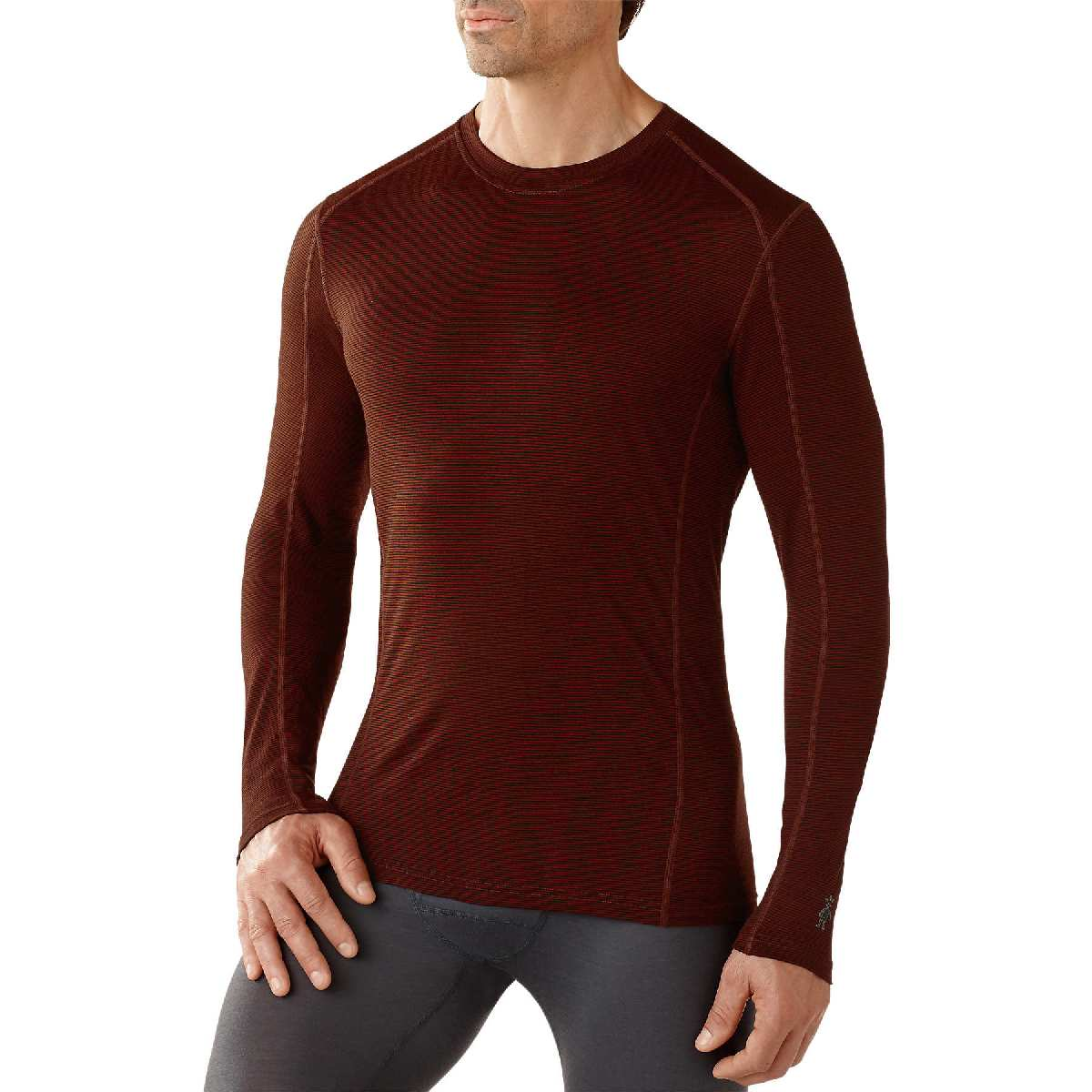 SmartWool NTS Micro 150 Pattern Crew Long Sleeve Base Layer Men's Size L Cinnamon U.S.A. & Canada