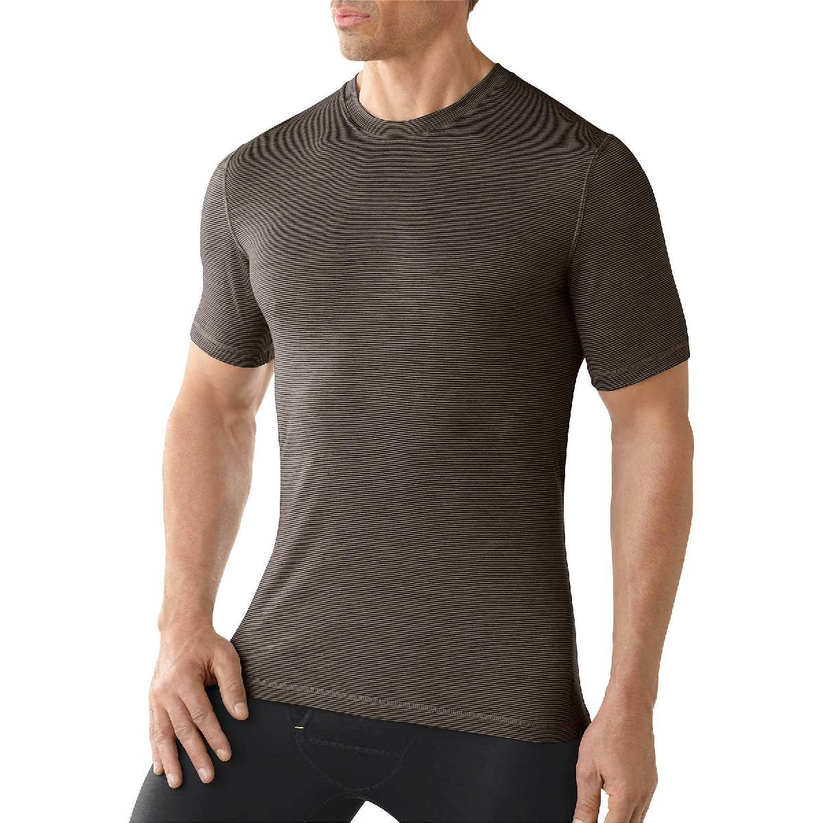 SmartWool NTS Micro 150 Pattern Short Sleeve Base Layer Men's Size M Taupe U.S.A. & Canada