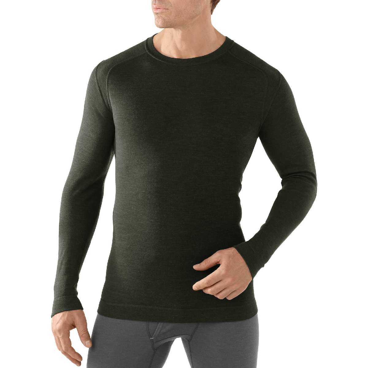 SmartWool NTS Mid 250 Crew Long Sleeve Base Layer Men's Size M OliveHeather U.S.A. & Canada
