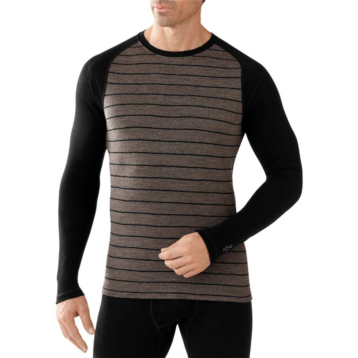 SmartWool NTS Mid 250 Pattern Crew Long Sleeve Base Layer Men's Size S TaupeHeather Black U.S.A. & Canada