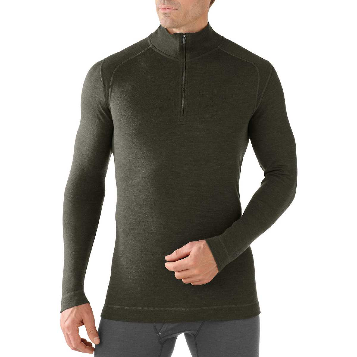 SmartWool NTS Mid 250 Zip T Long Sleeve Base Layer Men's Size L OliveHeather U.S.A. & Canada