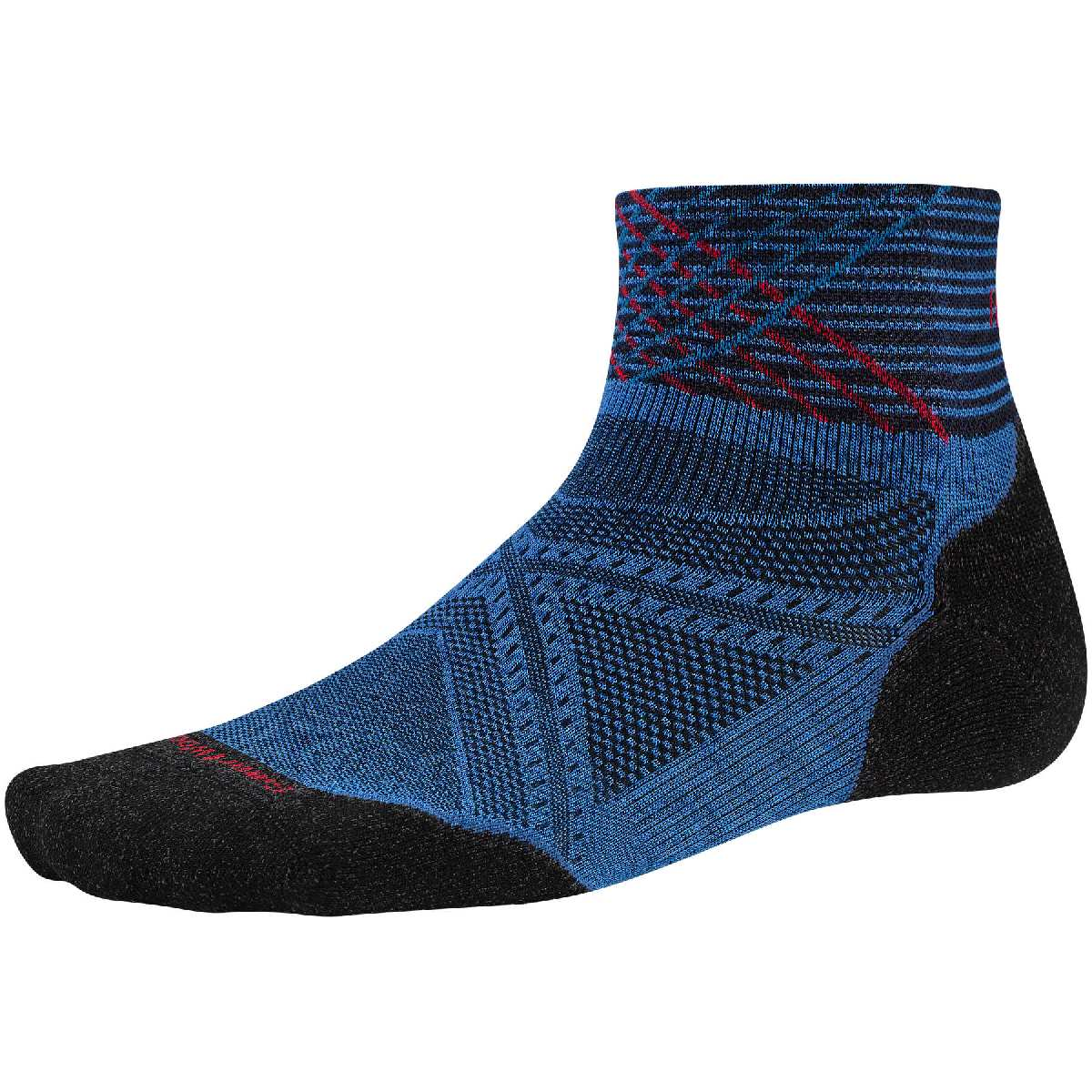 SmartWool PhD Light Elite Pattern Mini Running Sock Size XL BrightBlue U.S.A. & Canada