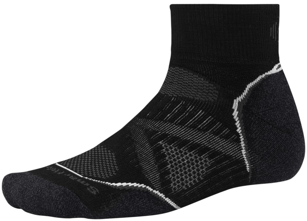 SmartWool PhD Medium Mini Running Sock Size M Black White U.S.A. & Canada