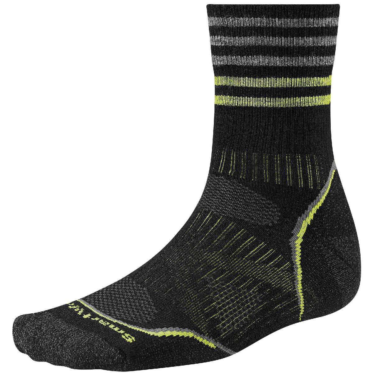 SmartWool PhD Outdoor Light Pattern Mid Crew Hiking Sock Size M Black U.S.A. & Canada