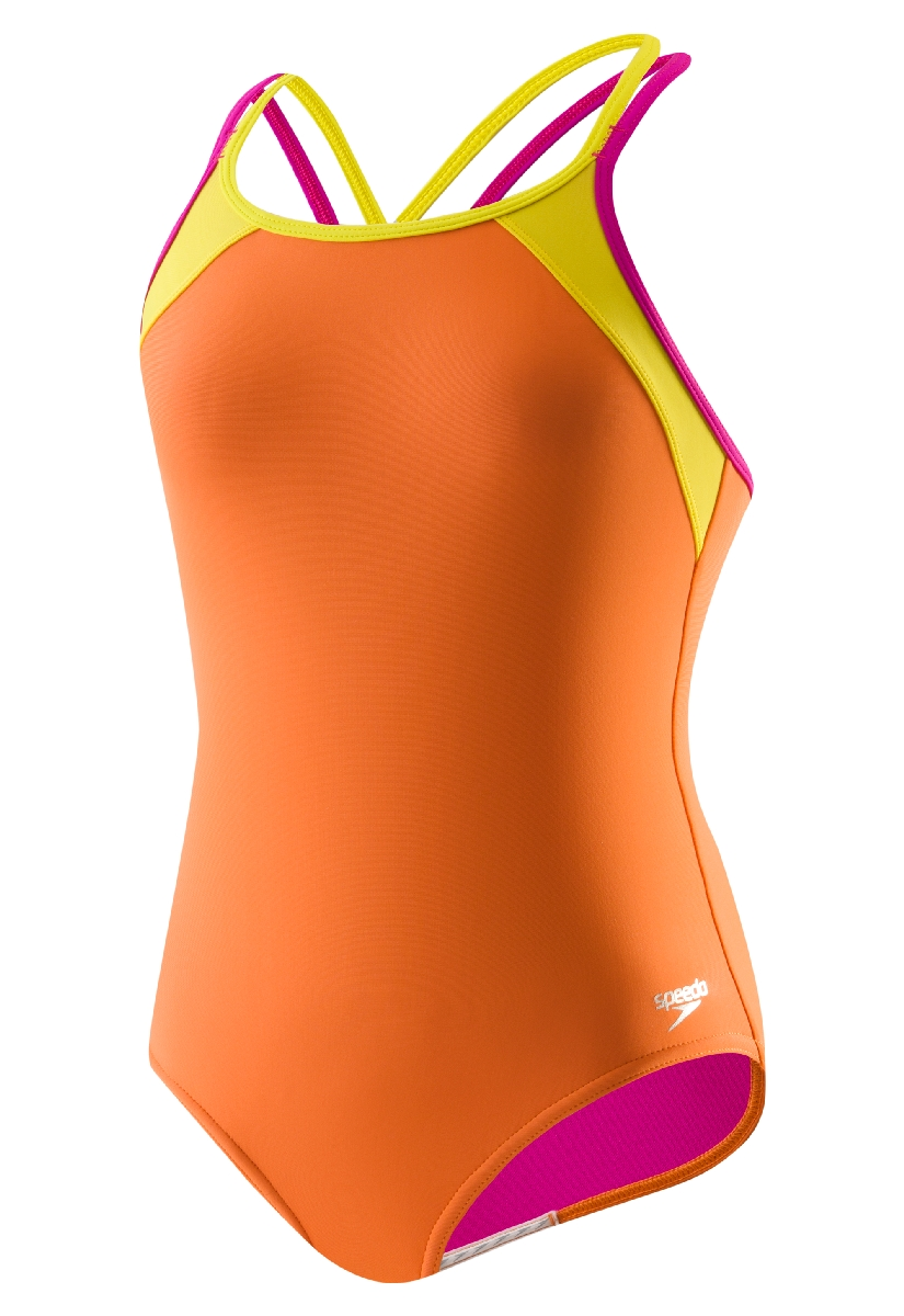 Speedo Crossback Splice Swimsuit Girl's Size 14 SunsetOrange U.S.A. & Canada