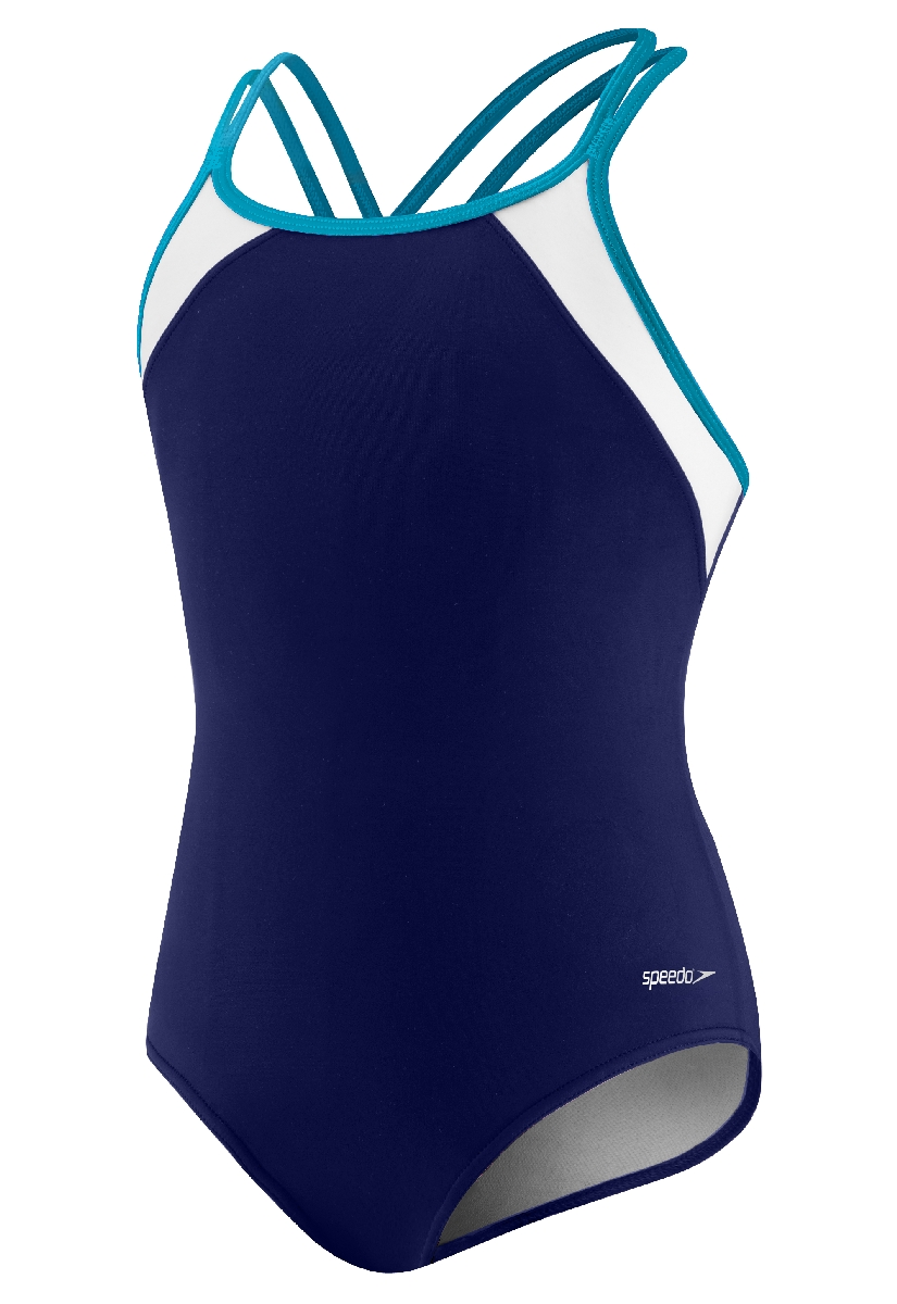 Speedo Crossback Splice Swimsuit Girl's Size 12 DeepWater U.S.A. & Canada