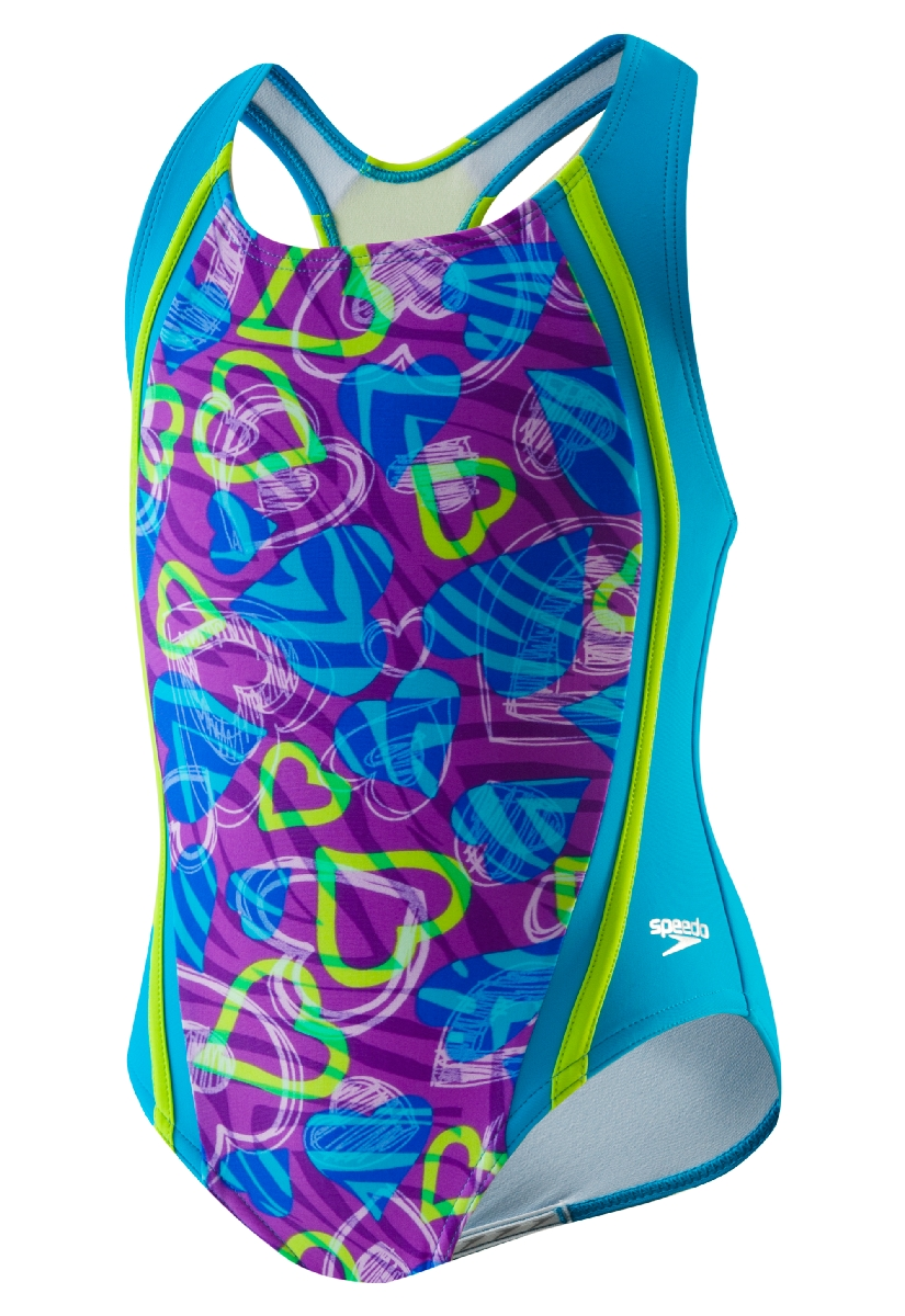 Speedo Dynamic Love Sport Splice Swimsuit Girl's Size 5 Purple U.S.A. & Canada