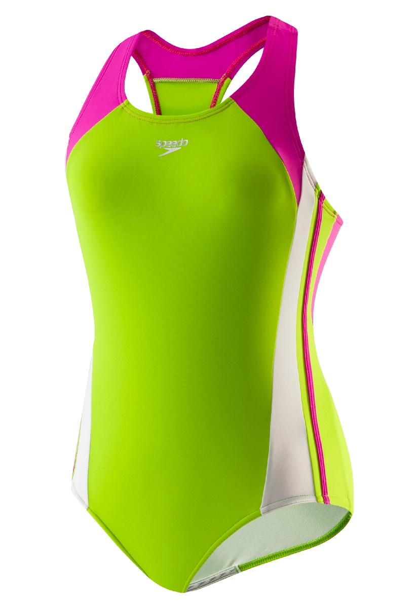 Speedo Infinity Splice Xtra Life Lycra Swimsuit Girl's Size 7 CitrusGreen U.S.A. & Canada