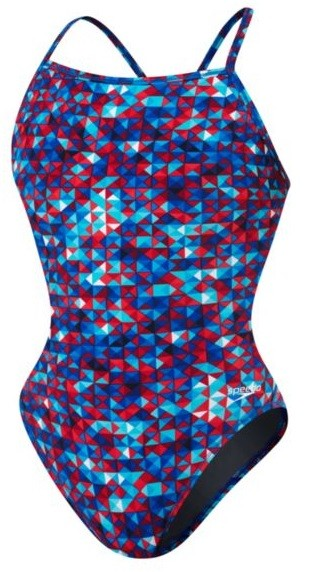 Speedo Nano Fracture Flyback Swimsuit Girl's Size 28 Navy Red White U.S.A. & Canada