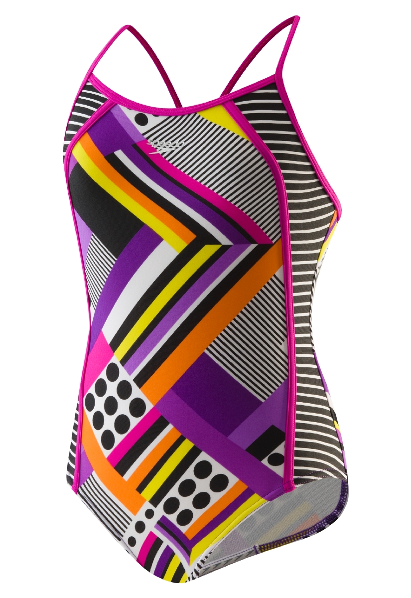 Speedo Poptical Stripes Side Splice Swimsuit Girl's Size 16 Purple U.S.A. & Canada