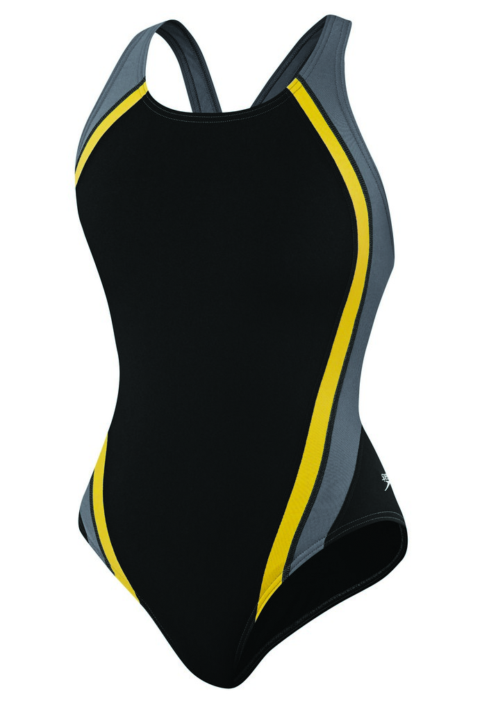 Speedo Quark Splice Pulse Back Swimsuit Women's Size 38 Black Yellow U.S.A. & Canada