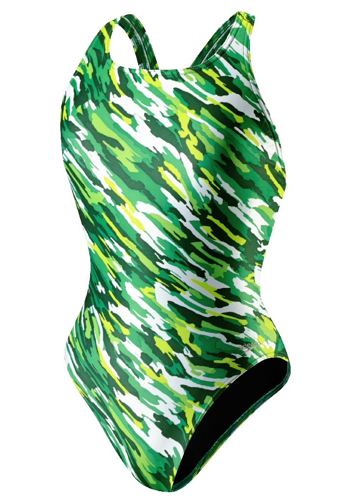 Speedo Team Camo Recordbreaker Back Swimsuit Women's Size 38 KellyGreen U.S.A. & Canada