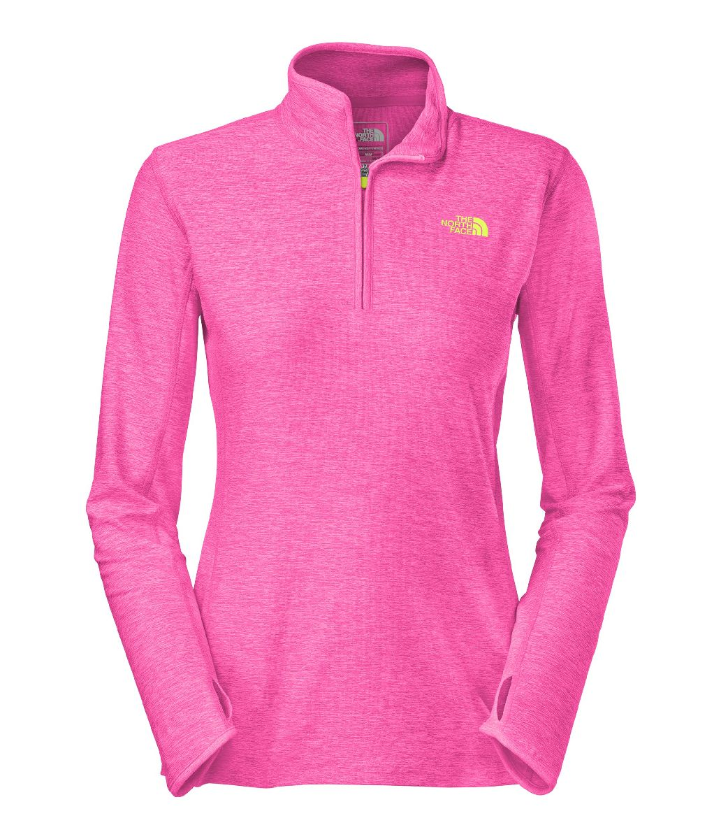 The North Face Motivation 1 4 Zip Workout Shirt Women's Size L GloPinkHeather U.S.A. & Canada