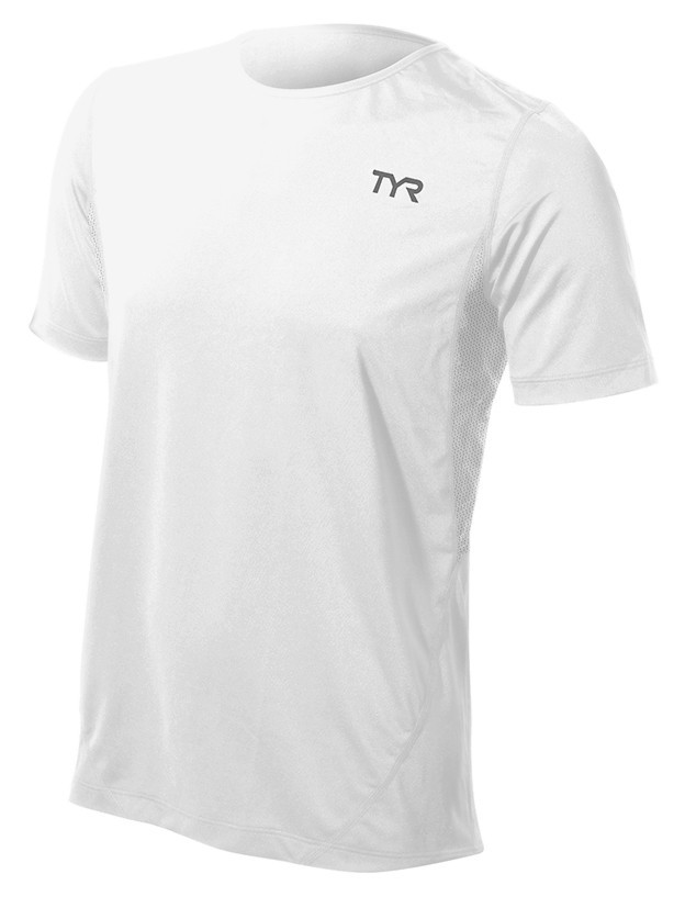 TYR All Elements Short Sleeve Running Top Men's Size XL White U.S.A. & Canada