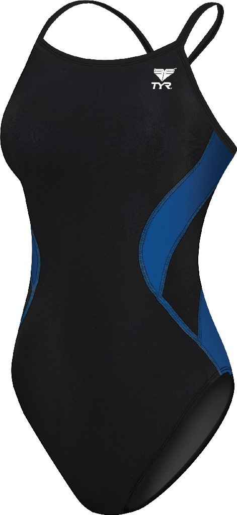 TYR Alliance Splice Diamondfit Swimsuit Women's Size 34 Black Blue U.S.A. & Canada