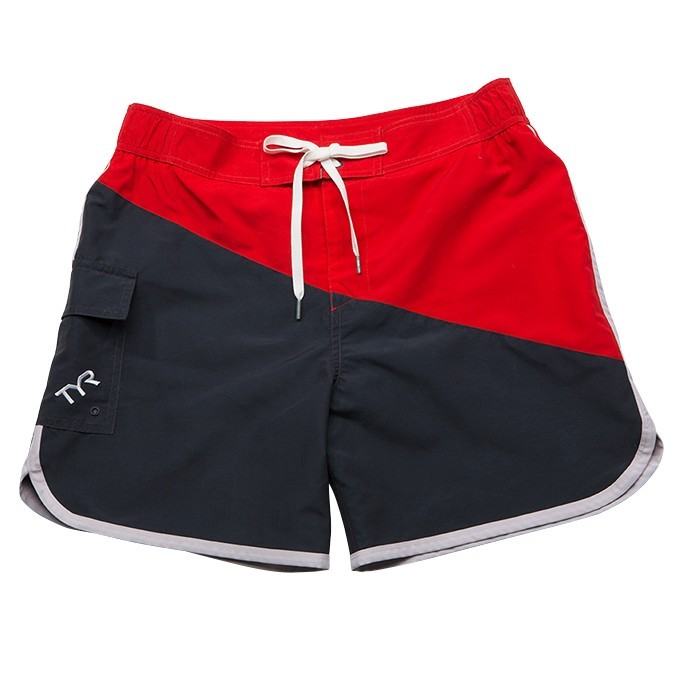 TYR Bulldog Diagonal Splice Boardshort Men's Size XXL Grey Red U.S.A. & Canada