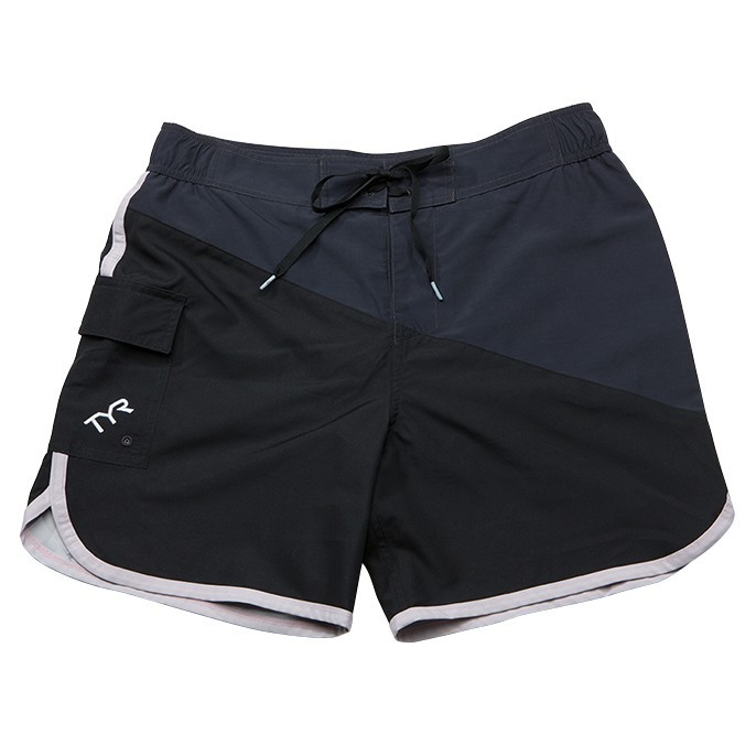 TYR Bulldog Diagonal Splice Boardshort Men's Size L Black Grey U.S.A. & Canada