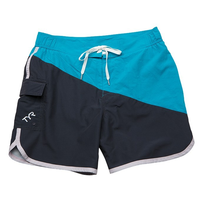 TYR Bulldog Diagonal Splice Boardshort Men's Size XL Grey Turquoise U.S.A. & Canada