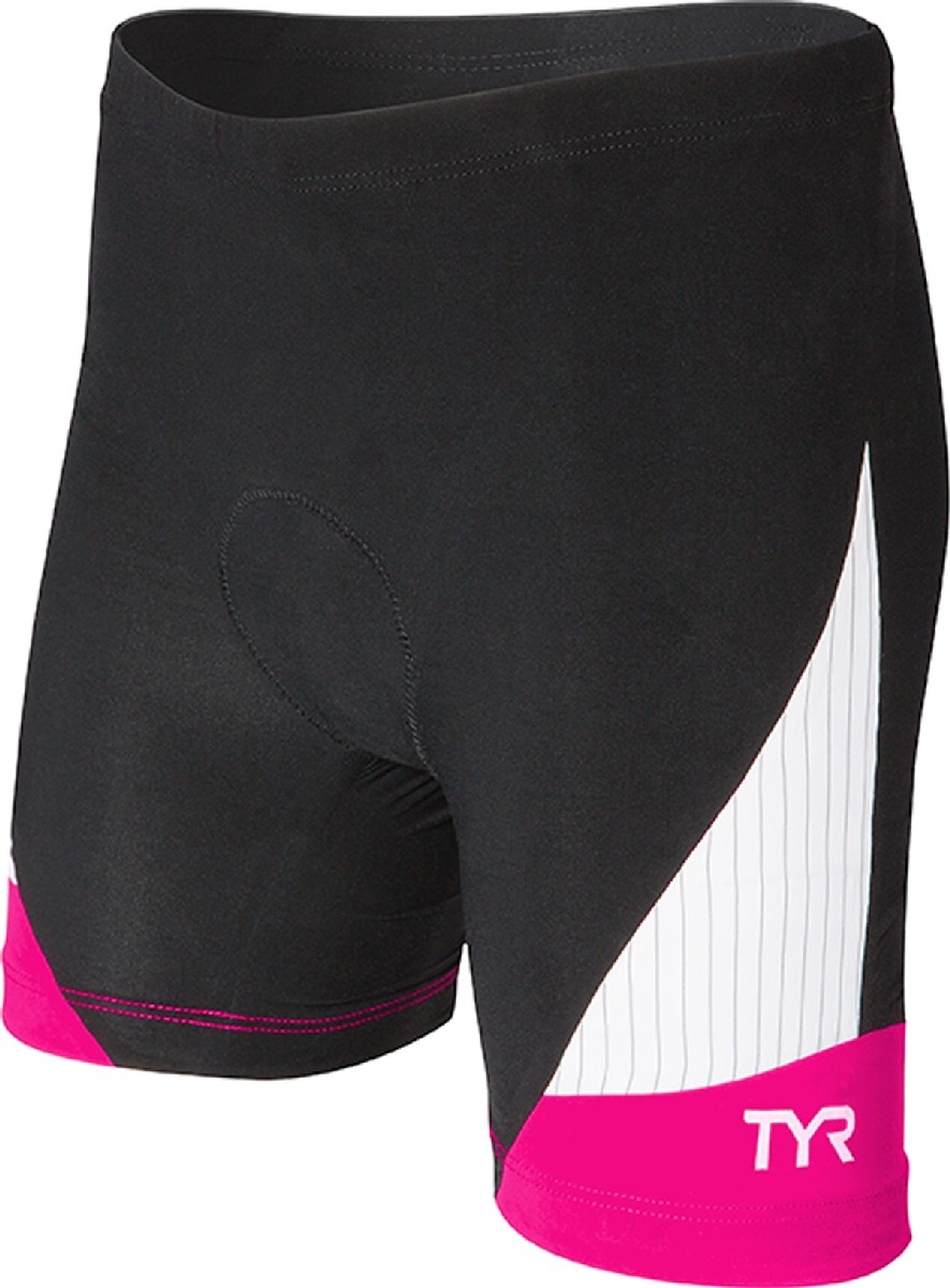 TYR Carbon 6 Triathlon Short Women's Size L Black Pink U.S.A. & Canada