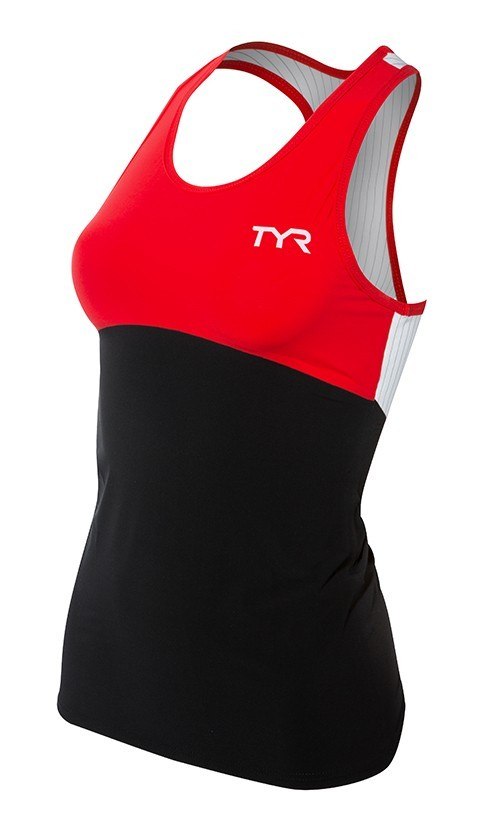 TYR Carbon Triathlon Tank Women's Size L Black Red U.S.A. & Canada