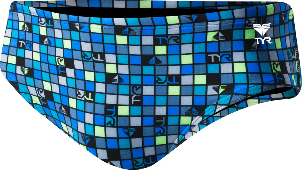 TYR Check All Over Racer Swim Brief Men's Size 34 Grey Turquoise U.S.A. & Canada