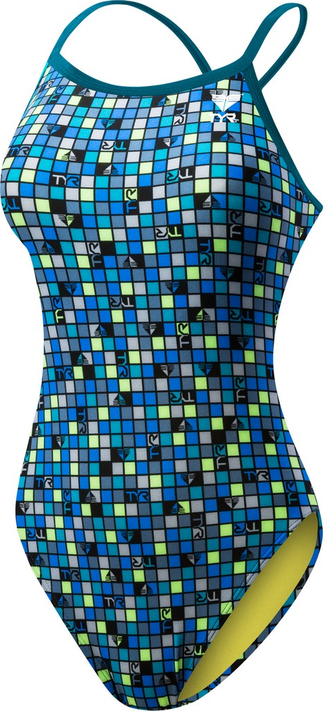 TYR Check Crosscutfit Swimsuit Women's Size 28 Grey Turquoise U.S.A. & Canada