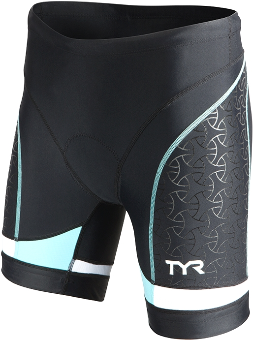 TYR Competitor 6 Triathlon Short Women's Size S Black LightBlue U.S.A. & Canada