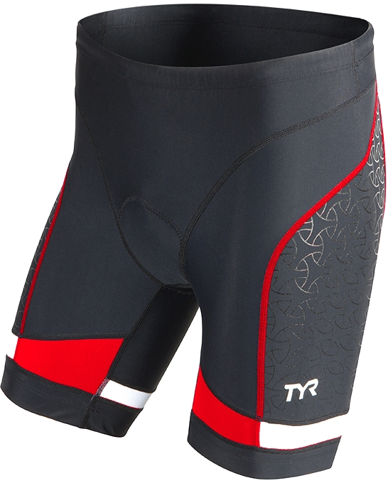 TYR Competitor 7 Triathlon Short Men's Size L Black Red U.S.A. & Canada