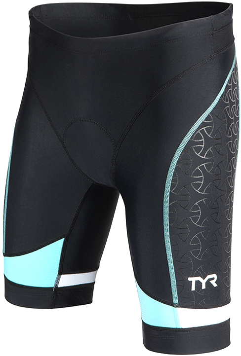 TYR Competitor 8 Triathlon Short Women's Size M Black LightBlue U.S.A. & Canada