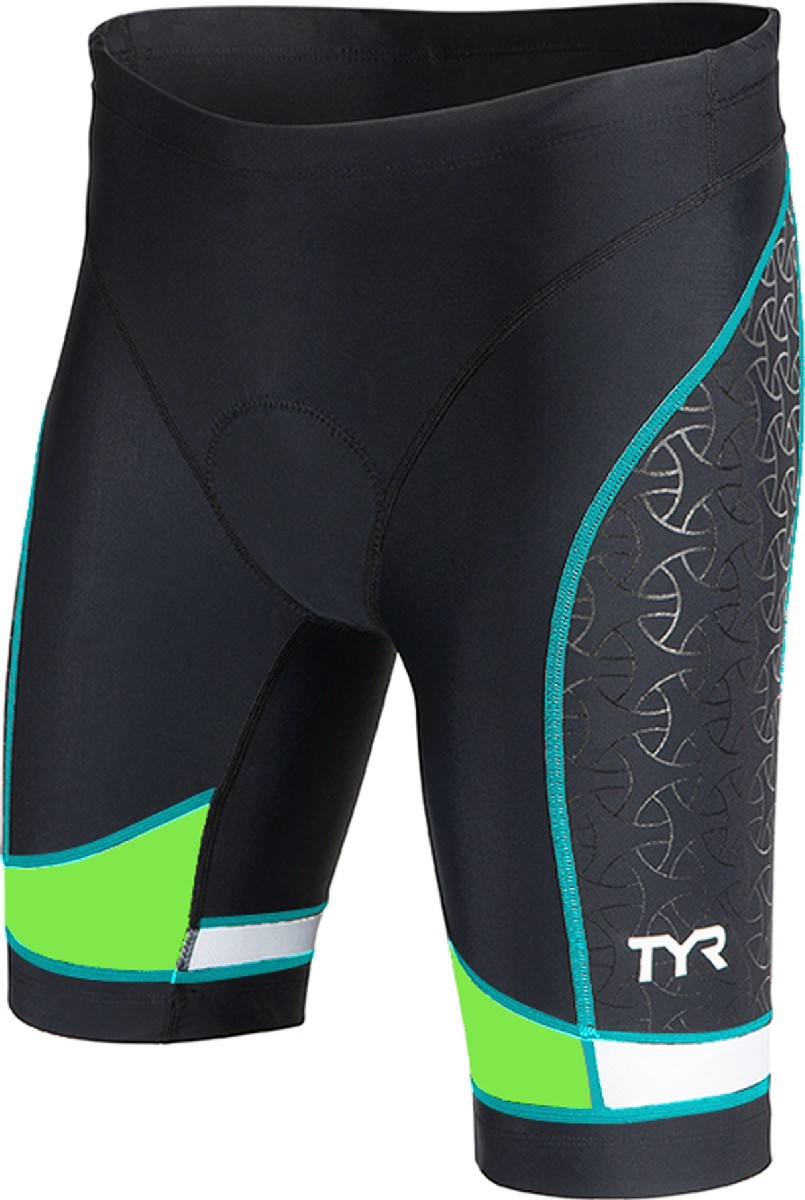 TYR Competitor 8 Triathlon Short Women's Size M Black Green LightBlue U.S.A. & Canada
