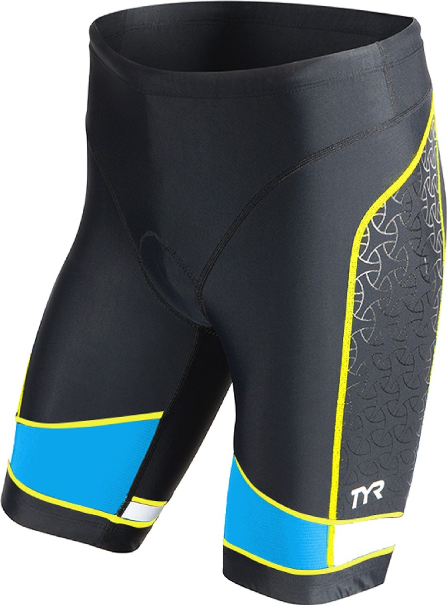 TYR Competitor 9 Triathlon Short Men's Size XS Black Blue Yellow U.S.A. & Canada