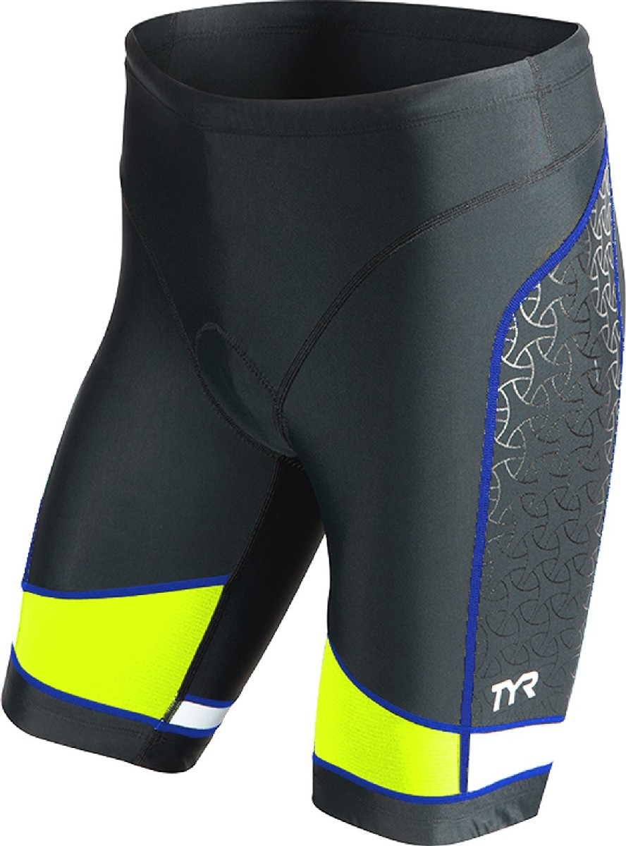 TYR Competitor 9 Triathlon Short Men's Size XS Black Lime Blue U.S.A. & Canada